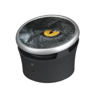 Gray Cat with Orange Eyes Bluetooth Speaker