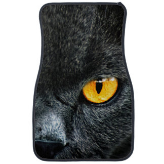 Gray Cat with Orange Eyes Floor Mat