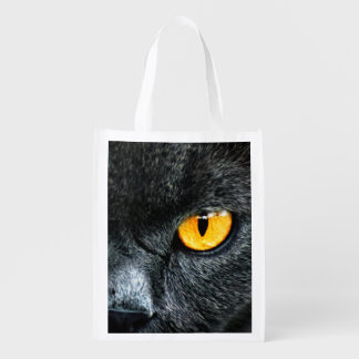 Gray Cat with Orange Eyes Reusable Grocery Bags