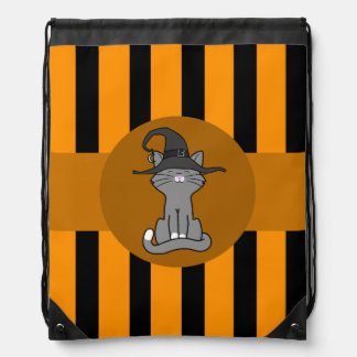 Gray Cat with Witch Hat & Orange Stripes Drawstring Bag