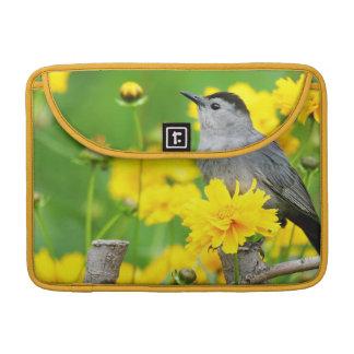 Gray Catbird on wooden fence Sleeve For MacBooks