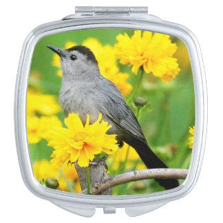 Gray Catbird on wooden fence Vanity Mirrors