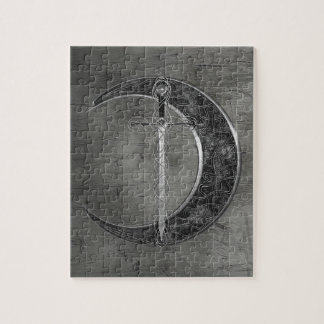 Gray Celtic Moon And Sword Jigsaw Puzzle