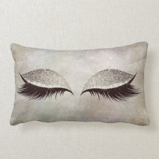 Gray Chalkboard Cement Glitter Eyes Makeup Lashes Lumbar Cushion