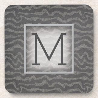 Gray Chalkboard Ocean Waves with Monogram Drink Coasters