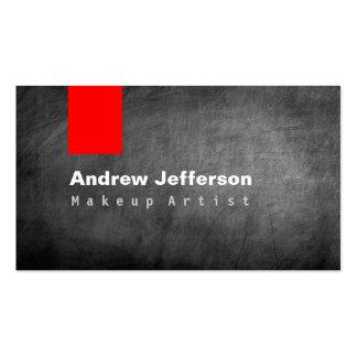 Gray Chalkboard Pattern Red Business Card