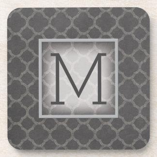 Gray Chalkboard Quatrefoil Pattern with Monogram Beverage Coasters