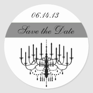 Gray Chandelier Save the Date Stickers
