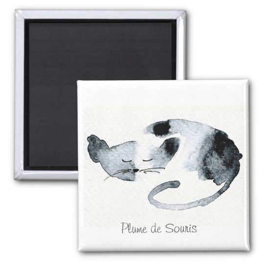 Gray Chaquarelle sleeping Square Magnet
