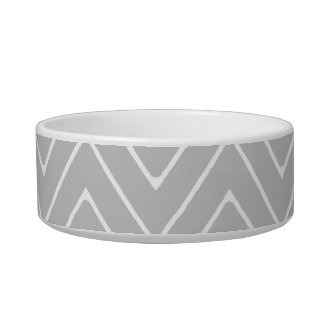 Gray & Charcoal Modern Chevron Custom Monogram Pet Water Bowls