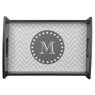 Gray & Charcoal Modern Chevron Custom Monogram Serving Tray