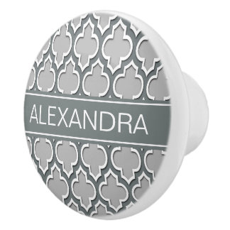 Gray Charcoal Moroccan #5DS Charcoal Name Monogram Ceramic Knob