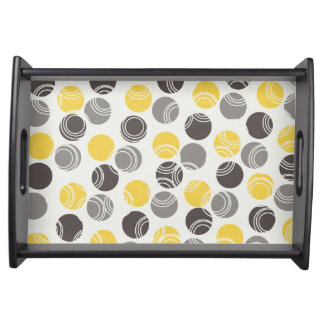 Gray, Charcoal, Yellow Orbs on White Serving Tray