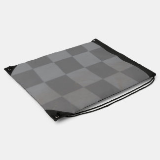 Gray Checkered Flag Drawstring Backpack