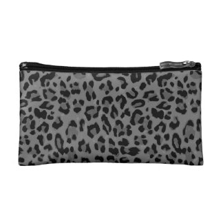 Gray Cheetah Cosmetic Bag