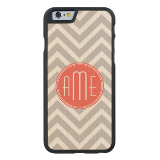 Gray Chevron and Coral Custom Monogram Carved Maple iPhone 6 Case