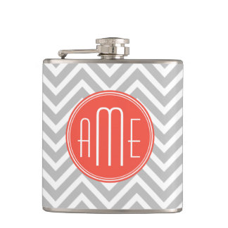 Gray Chevron and Coral Custom Monogram Hip Flask