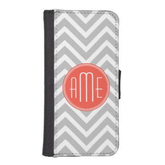 Gray Chevron and Coral Custom Monogram iPhone SE/5/5s Wallet Case