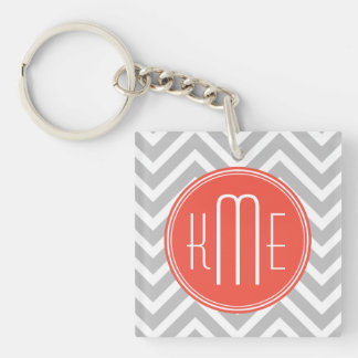 Gray Chevron and Coral Custom Monogram Double-Sided Square Acrylic Key Ring