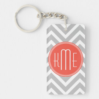 Gray Chevron and Coral Custom Monogram Double-Sided Rectangular Acrylic Key Ring