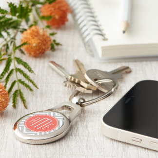 Gray Chevron and Coral Custom Monogram Silver-Colored Oval Key Ring