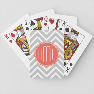 Gray Chevron and Coral Custom Monogram Playing Cards