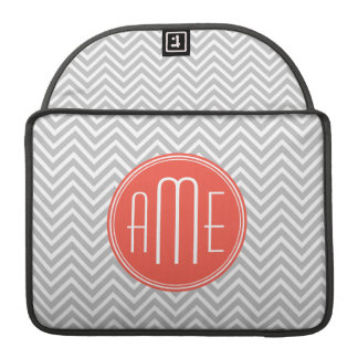Gray Chevron and Coral Custom Monogram Sleeve For MacBook Pro