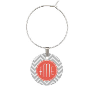 Gray Chevron and Coral Custom Monogram Wine Charm