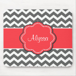 Gray Chevron and Coral Personalized Mousepad
