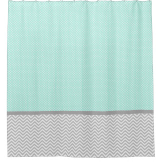 Gray Chevron and Mint Green Shower Curtain