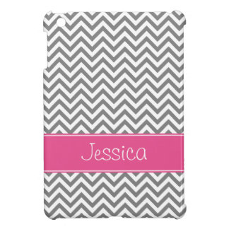 Gray Chevron Chic Pink Personalized iPad Mini Case