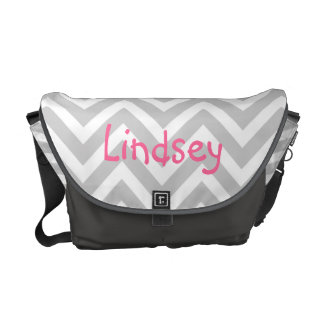 Gray Chevron Custom Monogram Commuter Bag