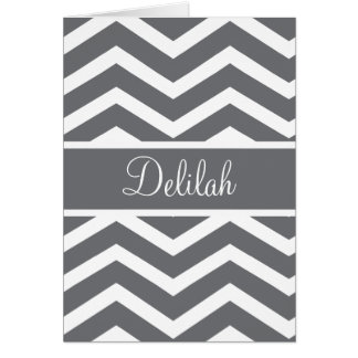 Gray Chevron Custom Name Card