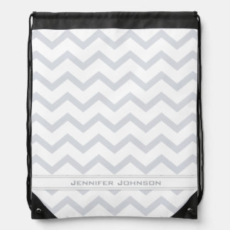 Gray Chevron Drawstring Backpack with Custom Name