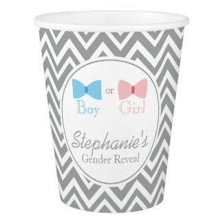 Gray Chevron Gender Reveal Bow and Bow Tie Paper Cup