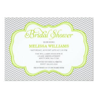 Gray Chevron Green Frame Bridal Shower 13 Cm X 18 Cm Invitation Card
