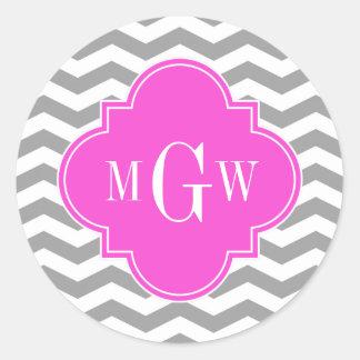 Gray Chevron Hot Pink Quatrefoil 3 Monogram Tn Round Sticker