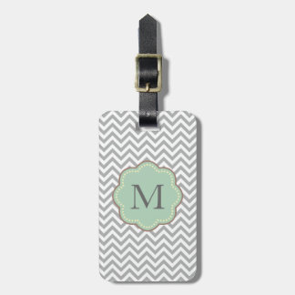 Gray Chevron Luggage Tag