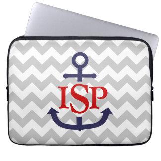 Gray Chevron Monogram Anchor Laptop Sleeve
