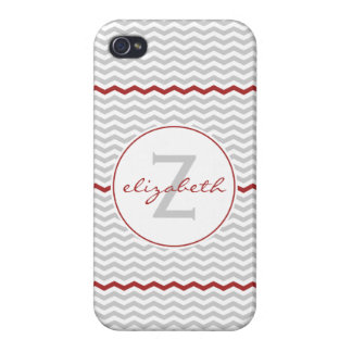 Gray Chevron Monogram iPhone 4 Covers