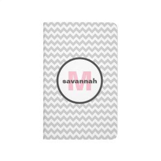 Gray Chevron Monogram Journal