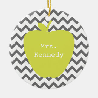 Gray Chevron Neon Apple Teacher Christmas Ornament