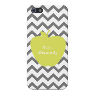 Gray Chevron Neon Apple Teacher iPhone 5/5S Cover