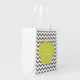Gray Chevron Neon Apple Teacher Reusable Grocery Bag