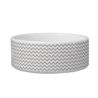 Gray Chevron Personalized Cat Bowl