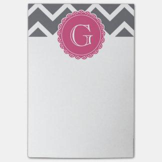 Gray Chevron Pink Monogram Post-it Notes