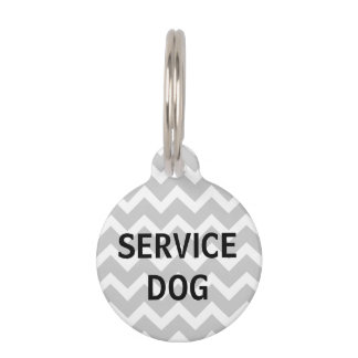 Gray Chevron Print Service Dog Pet Tag