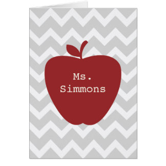 Gray Chevron & Red Apple Teacher Card