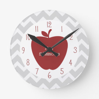 Gray Chevron & Red Apple Teacher Round Clock