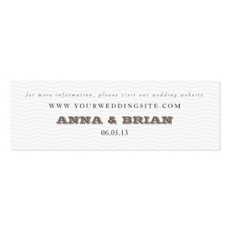 gray chevron wedding website card in Chocolate Pack Of Skinny Business Cards